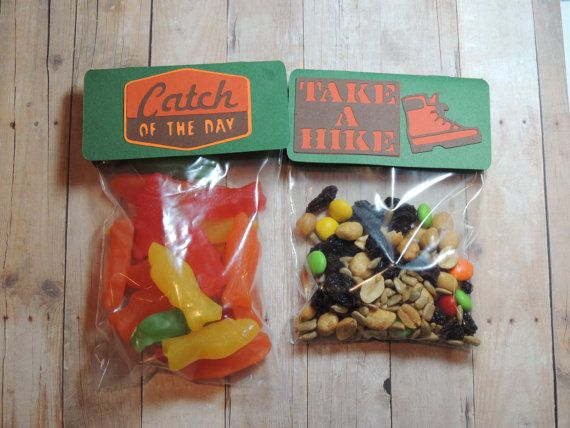 "Camp theme treat bag toppers with bags. You choose ""Catch of the day"", ""Take a hike"" or both. Camping party favors. Favor bags."