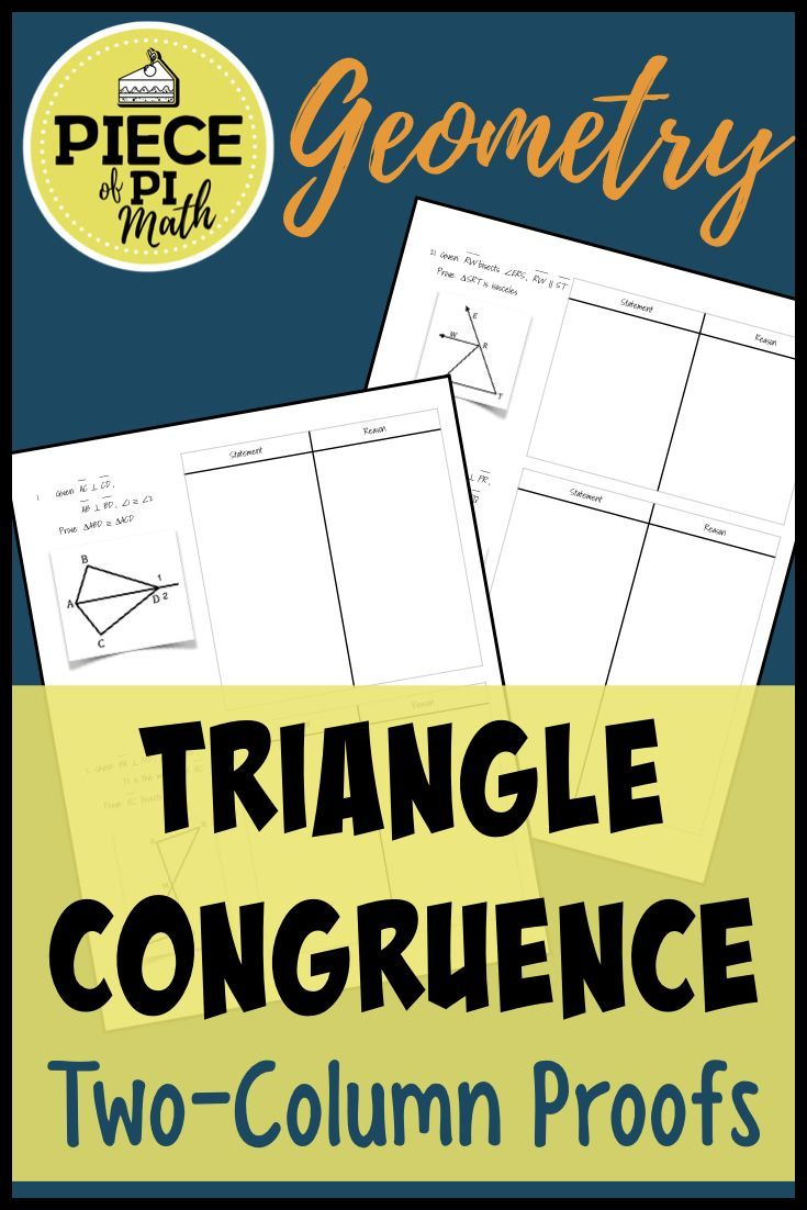 Triangle Congruence Proofs Geometry worksheets, Algebra