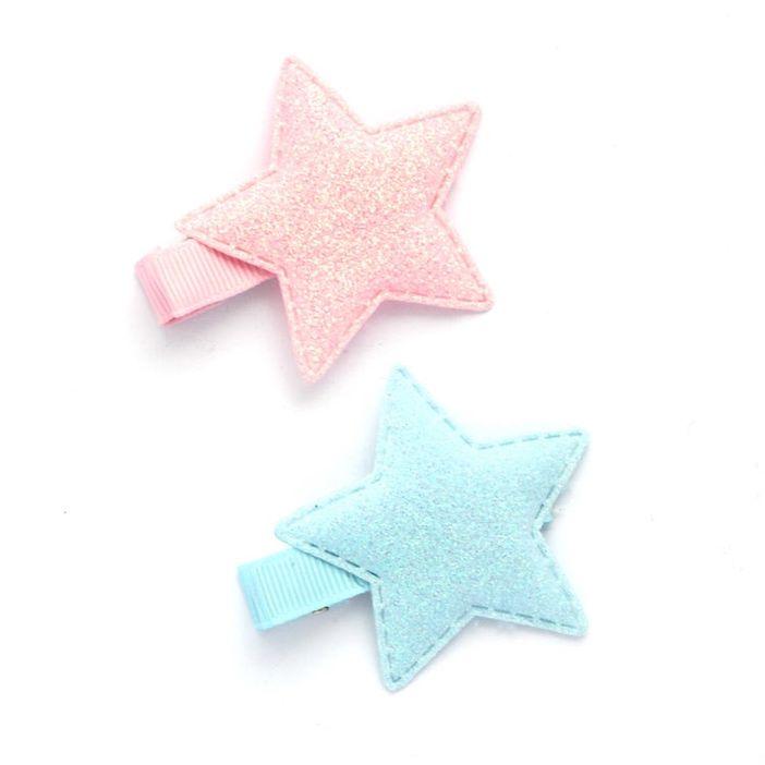 Glitter star baby hair clips. #babyhairclips , #hairclip , # star , #glitter , #glitterstar