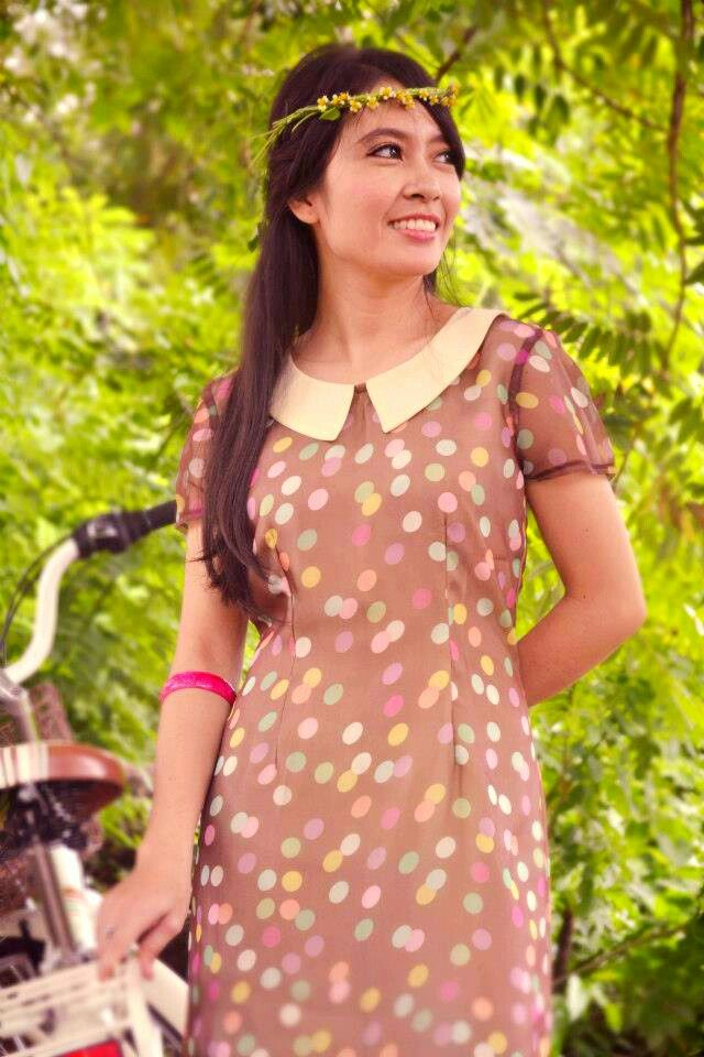 Colourful Polka|dress|casual|chiffon|handmade|limited|