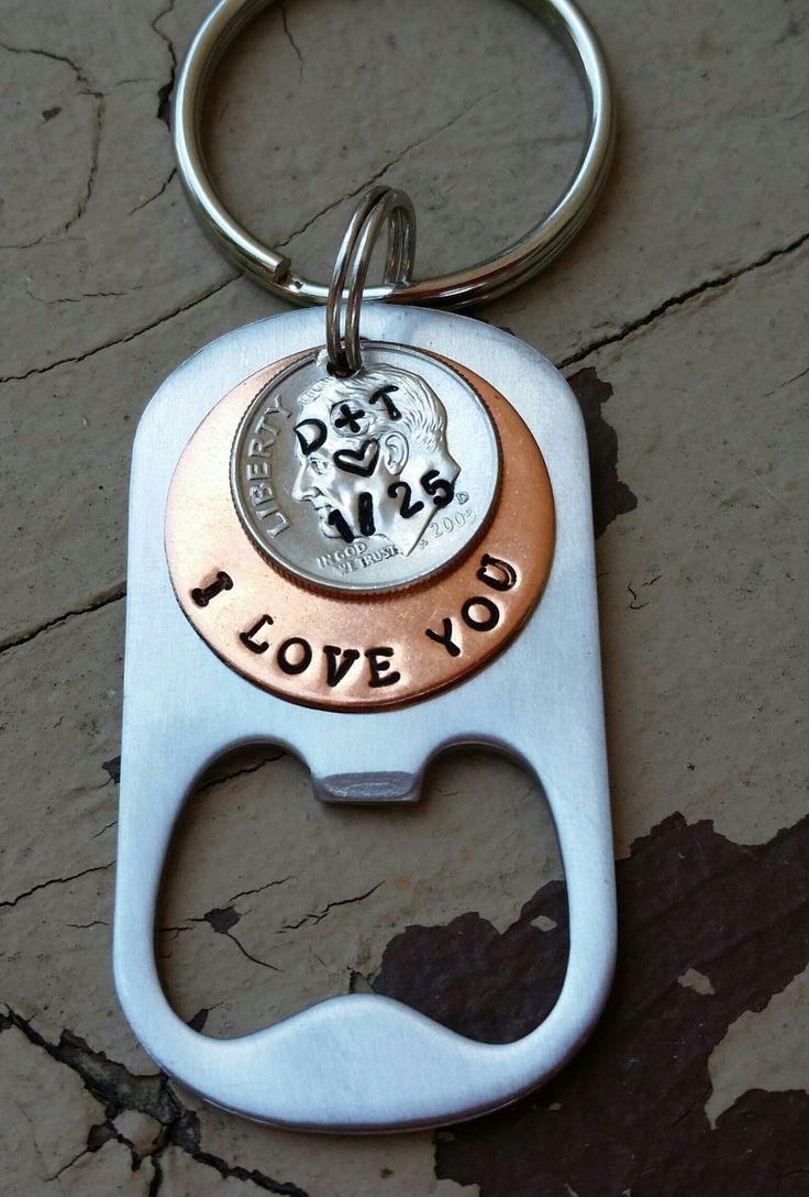 10 Year Anniversary Keychain Anniversary Stamped Dime