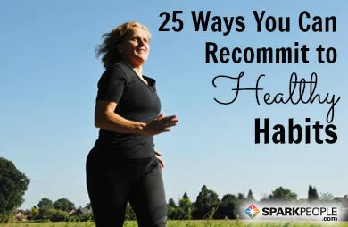 Did you fall off the wagon again? Don't keep spiraling downward away from your goals. Here are 25 Ways to Get Back on Track Today! | via @SparkPeople #motivation #health #fitness