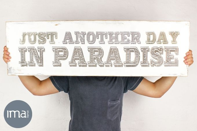 Wood Block Mount Art 'Just Another Day in Paradise' – 30 x 100cm  by Ima Studio