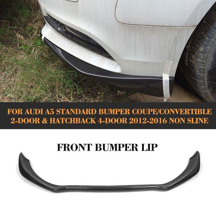 carbon fiber front bumper Lip Spoiler diffuser lip for Audi A5 standard And Convertible Only 12-16 Non S line Black FRP #Affiliate