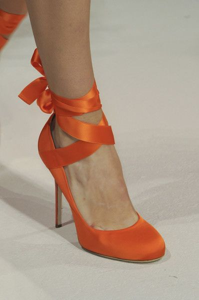 Not big on orange, but this one is gorgeous pair of shoes. Alberta Ferretti Spring 2014 - Details