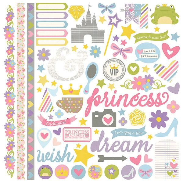 Simple stories enchanted collection 12 x 12 cardstock stickers fundamentals