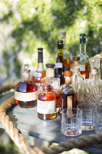 Summer Bourbon Bar & backyard grill-out dinner party idea