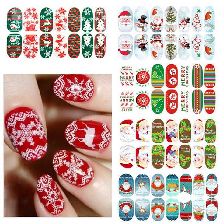 New Products 2016 Christmas Xmas Santa Snow Glow in dark Nail Art Sticker Luminous Nail Patch Decals FREE SHIPPING