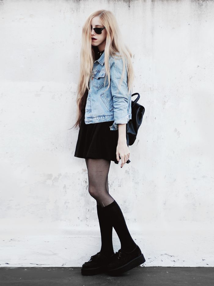 Denim jacket with Crop top, Skater dress, spiked choker necklace, Sunglasses, Stockings, Long black socks & Black Creepers shoes