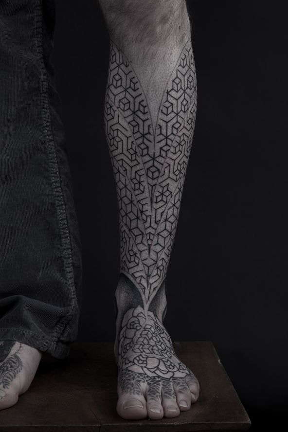 like the geometric inspiration and lower-leg location but needs to be more feminine and varied