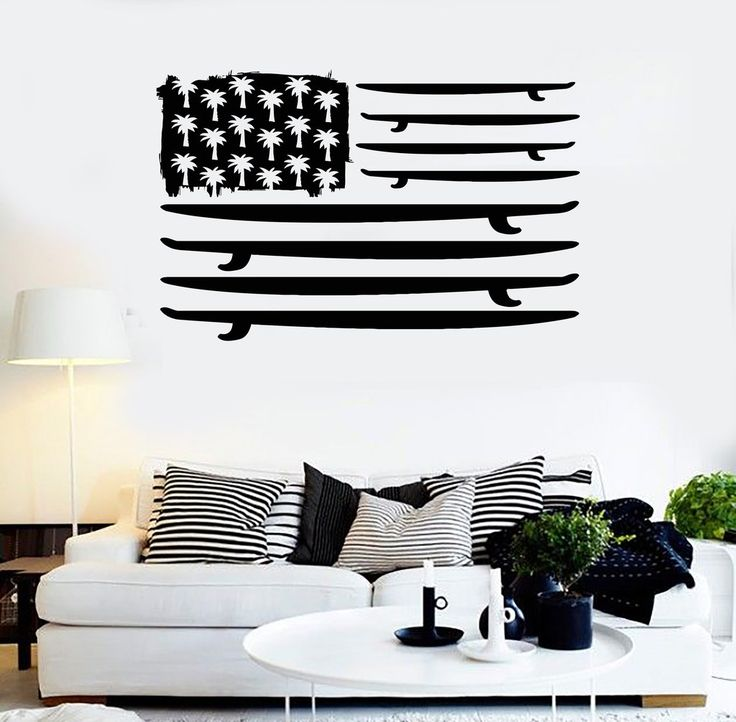 Vinyl Wall Decal Surfing Surfboard Flag Palms Ocean Surf Stickers (ig3790)
