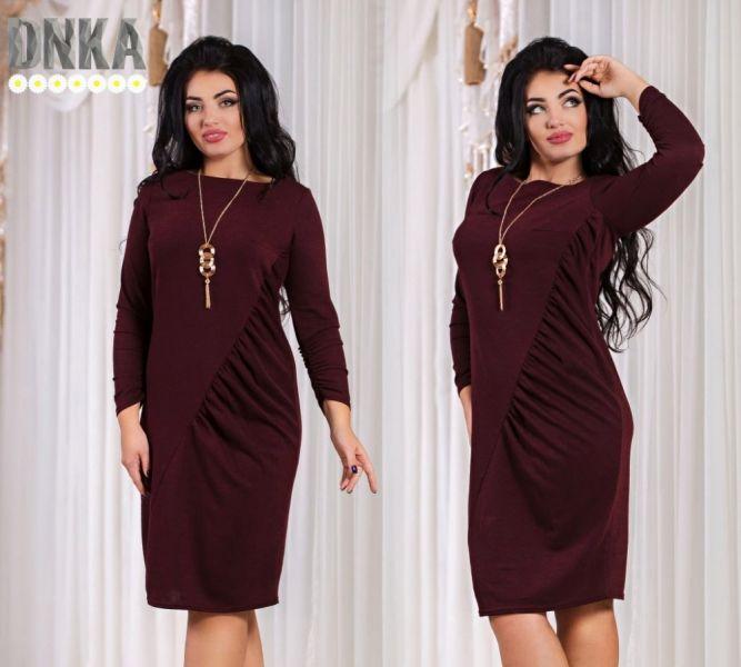 Красивое однотонное платье с длинным рукавом повседневного стиля бордовое марсала