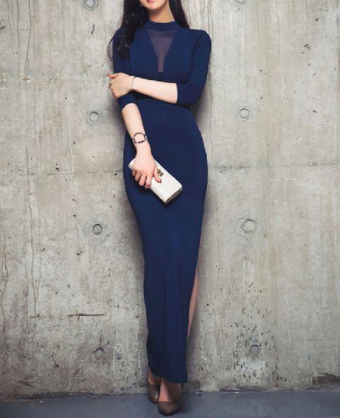 Elegant hollow mesh sexy side slit skirt dress - ONI Apparel