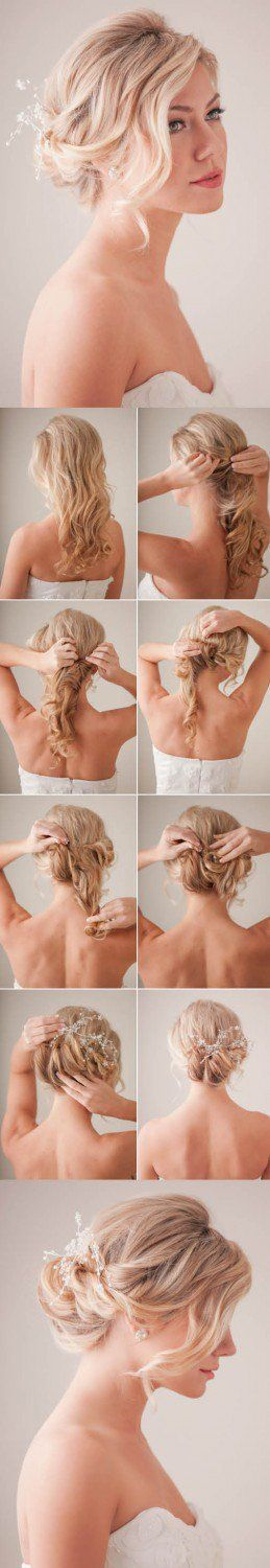 Curly Braid Updo | Step By Step Hair Updo by Makeup Tutorials at http://makeuptutorials.com/14-stunning-easy-diy-hairstyles-long-hair-hairstyle-tutorials/