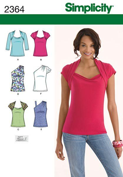 Simplicity 2364 Misses Knit Tops Sewing Pattern It Pinterest