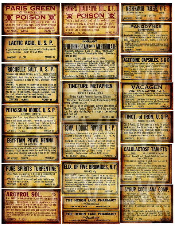 Antique Poison Bottles Labels