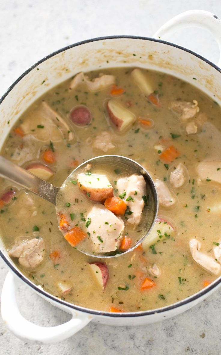 Best Chicken Stew. To make a chicken stew that could satisfy like its beef brethren, we looked to two different chicken parts to 'beef' things up: the wings and boneless thighs. The wings provide rich flavor and plenty of thickening gelatin and we cut the thighs into bite-size pieces for tender bites throughout the stew.