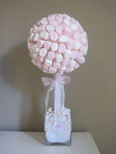 Marshmallow tree thème gourmandises. centre de tables ?