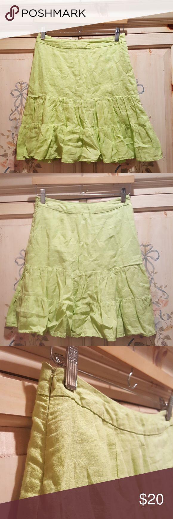 Skirt Gap Apple Green Ruffles 0 lined Gap skirt w ruffles ,,, 19 inch length, 100% linen,  lining cotton GAP Skirts Mini