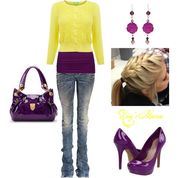 This is really cute! Eggplant with yellow pop!, created by zionsmama on Polyvore.: Style Fall Wint, Lakers Style, Colors Combinations, Color Combinations