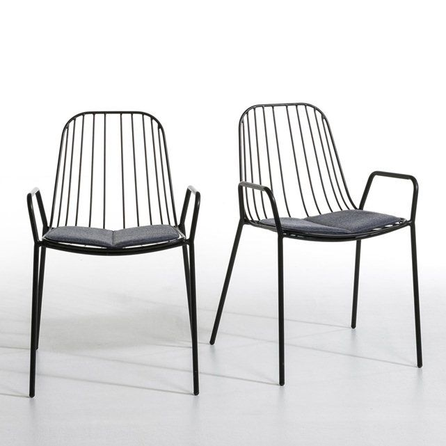 set of 2 bop metal chairs ampm la redoute
