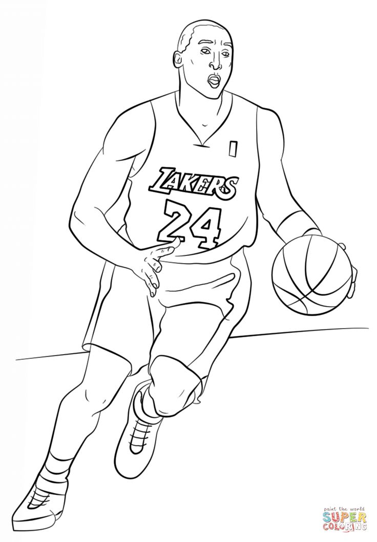 Kobe Bryant Coloring page Free Printable Coloring Pages