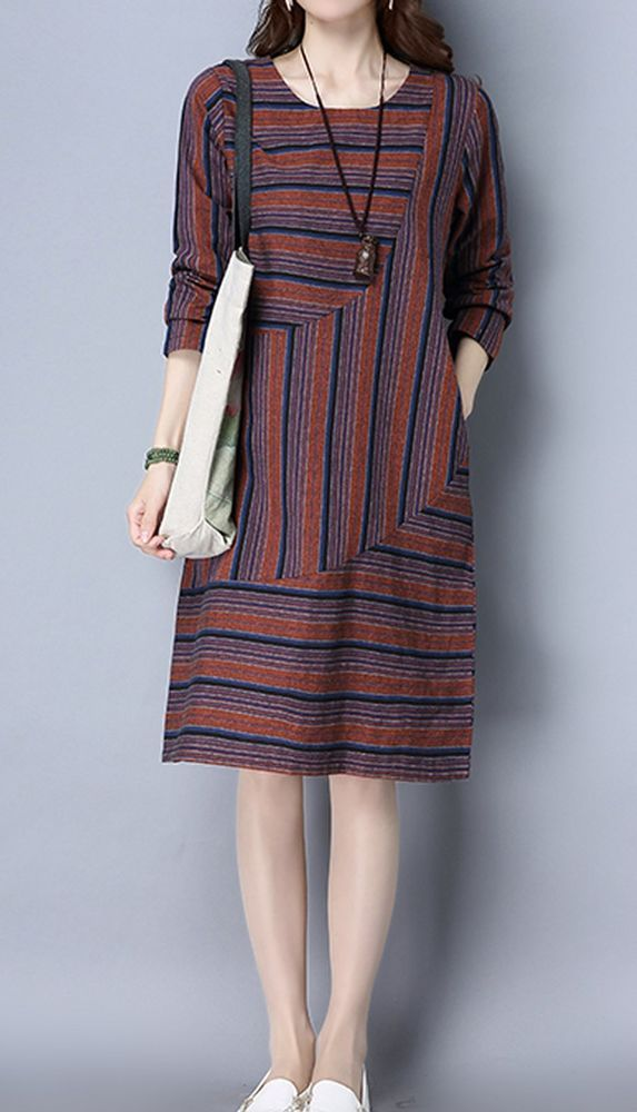 New women loose one size fit dress maxi ethnic stripes pocket tunic robe fashion #Unbranded #Maxi #Casual