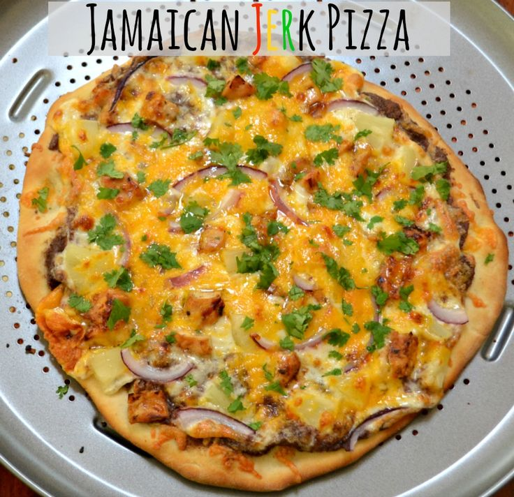 Jamaican Jerk Pizza with Black Bean Base.