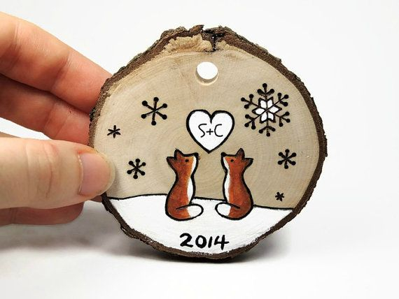 "Love Fox Personalized ""Our First Christmas"" Ornament: Rustic wood burned tree slice"