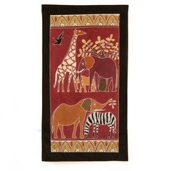 Wall Hangings ~ Various Safari Animal Designs Large $55.00 USD  Multi-purpose wall hanging depicting Zambia's rich wildlife heritage, against background of deep red. Hemmed all around with full-width pocket along top edge for hanging pole. Can also be used as a Tablecloth or throw.