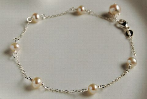 Silver and pearl floating bracelet