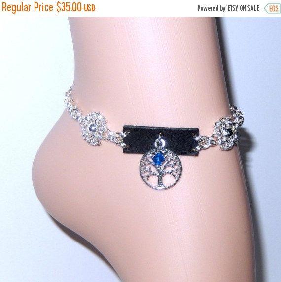 Bracelet de cheville, cheville, bracelet de cheville avec élément de cristal Swarovski, cotte de mailles bracelet de cheville, bijoux de cheville, cheville de l