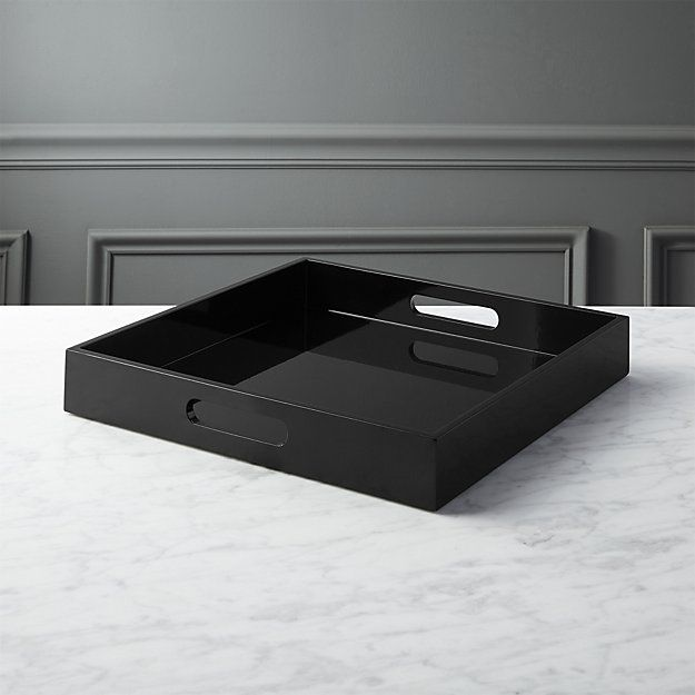 hi-gloss square black tray | CB2