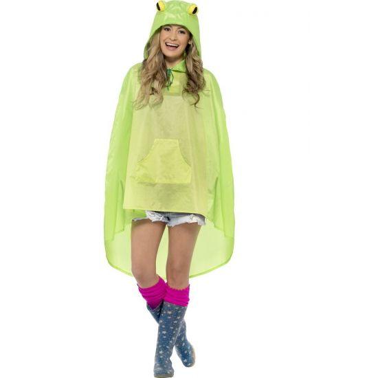 Party regenponcho kikker. Deze poncho voor volwassenen is groen en heeft kikker ogen op de capuchon. De kikker poncho is waterafstotend en erg geschikt voor bijvoorbeeld een buiten feest of festival. De poncho word geleverd in een bijpassend zakje met koord.