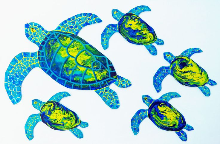Blue Turtle beach wall decor, nautical home,beach house, nautical nursery, sea creatures, blue under the sea,cottage decor sea turtle family by jenzartcreations on Etsy