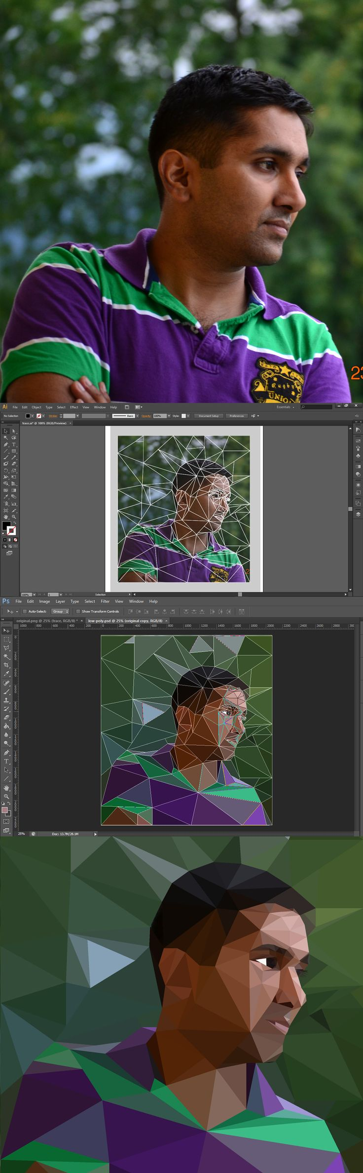 How to convert any image into lowpoly graphic using Illustrator and Photoshop.