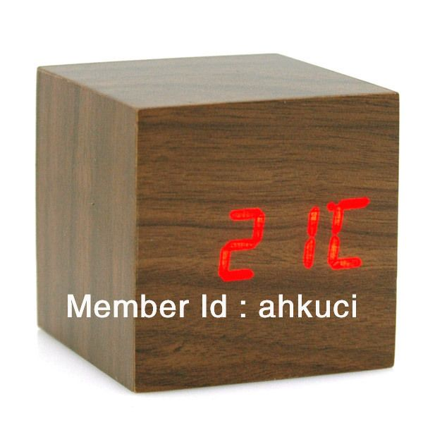 Современные древесины, чтобы построить цифровые часы светодиодный цифровой термометр Vioce & Touch, активировать что ZJ было коричневый/008 доклад полиция