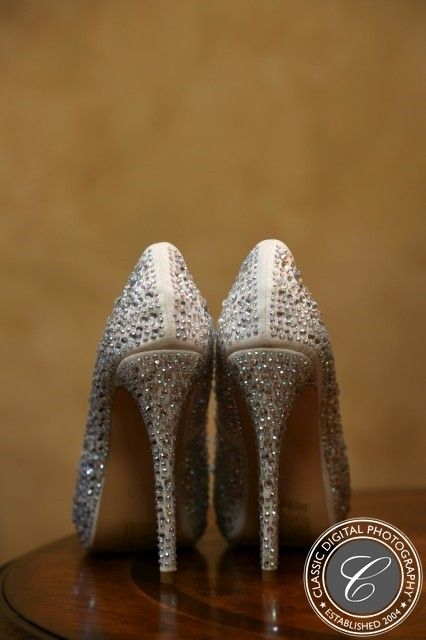 Cream Colored Bedazzled Bridal Pumps With Rhinestones