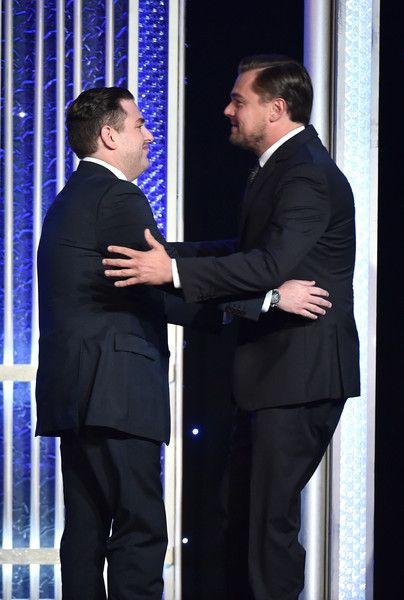 """Leonardo DiCaprio Photos Photos - Presenter Jonah Hill (L) and producer Leonardo DiCaprio, recipient of the """"Hollywood Documentary Award"""" for """"Before The Flood"""", speak onstage during the 20th Annual Hollywood Film Awards on November 6, 2016 in Beverly Hills, California. - 20th Annual Hollywood Film Awards - Show"""