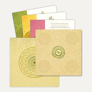 This card and matching mailing envelope is made out of Pearl Gold shimmery paper board. This fabulous card has stunning front with beautiful floral design all over. Gold plated Initials sticker placed in center of circular design of gold foil at front of the card gives amazing look. Initials can be customizable as per couple's name. #MuslimWeddingCard