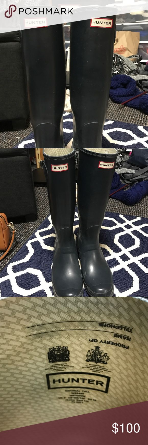 Tall Hunter Rainboots Matte navy blue tall hunter boots! Don't fit me anymore. Great condition! Hunter Shoes Winter & Rain Boots