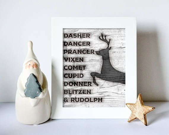 Reindeer Names Print  I just love decorating for the holidays! In fact, that is one of the reasons I started making digital prints--for myself, for decoration for my own home! This print has a wooden background with the names of Santas reindeer burned into the wood. Neutral enough that it will coordinate easily with lots of other holiday decor. Keep for yourself or gift to a Christmas-obsessed friend! :)…