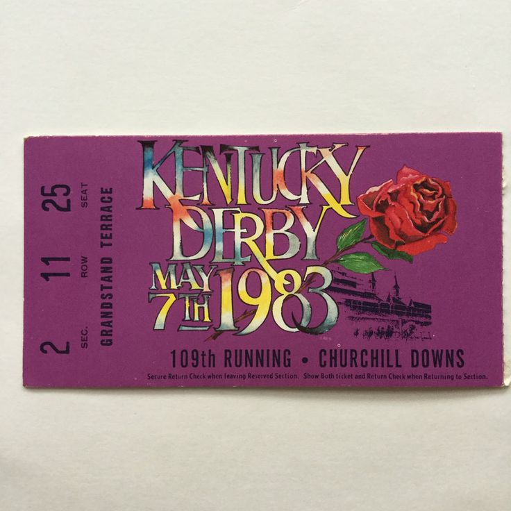 kentucky derby day churchill downs horse racing vintage ticket stub 1983 from $9.99