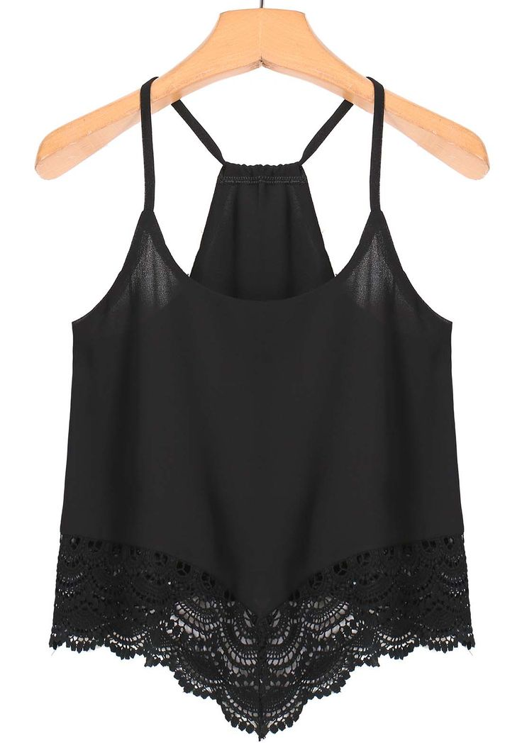 Spaghetti Strap Lace Black Cami Top -SheIn(Sheinside)