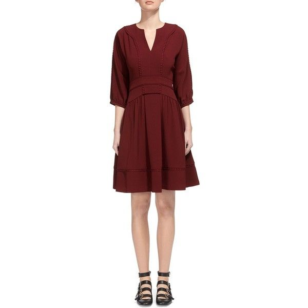 Whistles Eliza Pom Pom Trim Dress (320 NZD) ❤ liked on Polyvore featuring dresses, burgundy, whistles dress, pom pom dress, red dress, burgundy red dress and burgundy dress