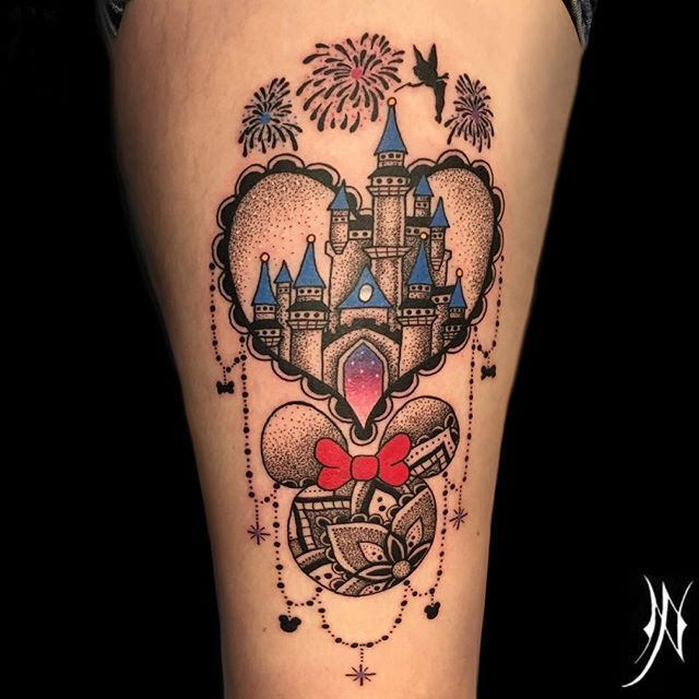 Disney piece on the thigh, a bit distorted picture #Tattoo #Tattoos # tattoo artist … – D – – # tattoo ideas