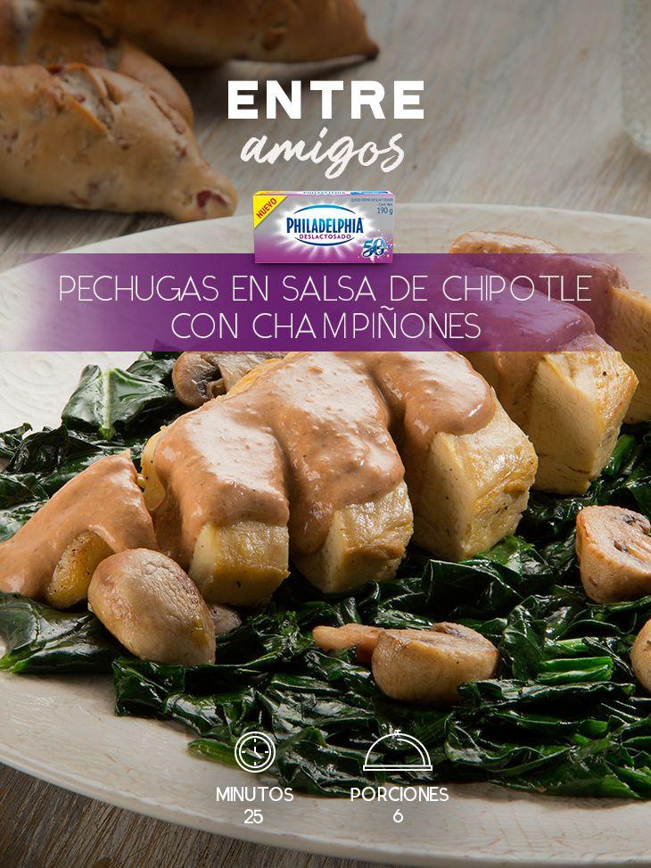 La mejor idea para compartir con tus amigos son estas Pechugas en salsa de chipotle con champiñones.    #recetas #receta #quesophiladelphia #philadelphia #crema #quesocrema #queso #comida #cocinar #cocinamexicana #recetasfáciles #recetasPhiladelphia #recetasdecocina #comer #pechugas #pollo #recetaspollo #chipotle #champiñones #deslactosado