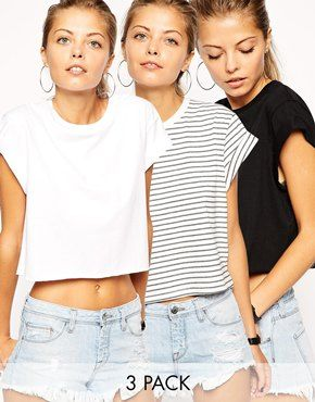 ASOS Cropped Boyfriend T-Shirt with Roll Sleeve 3 Pack SAVE 20% $37.90