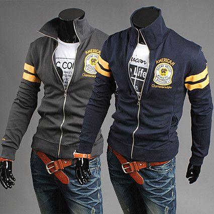 American Fashion Men School Sporty Zip Sweat Shirt | Sneak Outfitters