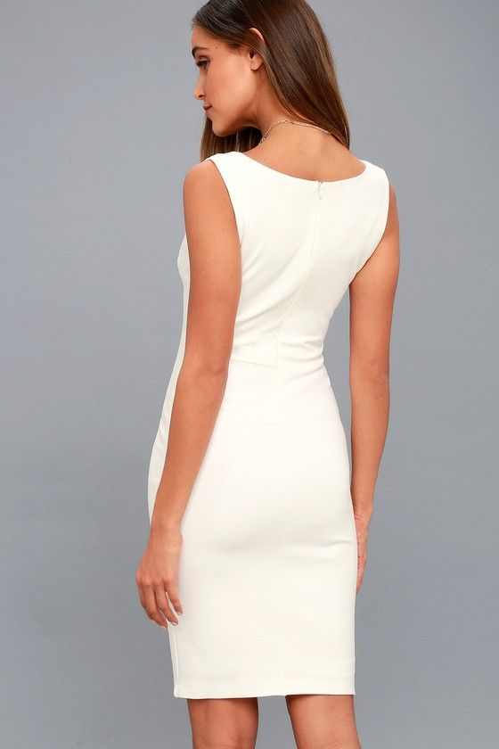 bb80318f6df6 Watch for Curves White Sleeveless Bodycon Dress 7
